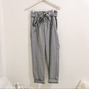 EXPRESS Paper Bag Grey Striped Pants